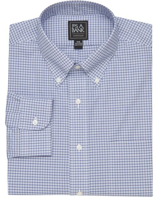 Lyst jos a bank traveler collection traditional fit for Small collar dress shirt