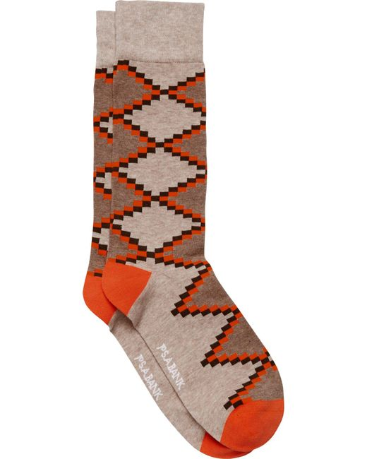 Jos. A. Bank - Brown Chevron Check Patterned Dress Socks, 1-pair for Men - Lyst