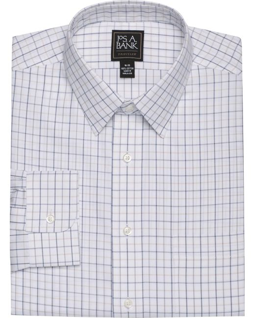 Jos. A. Bank - Blue Traveler Collection Traditional Fit Spread Collar Herringbone Weave Dress Shirt for Men - Lyst