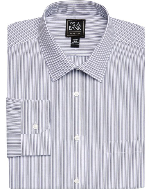 Jos a bank traveller collection slim fit spread collar for Spread collar slim fit dress shirts