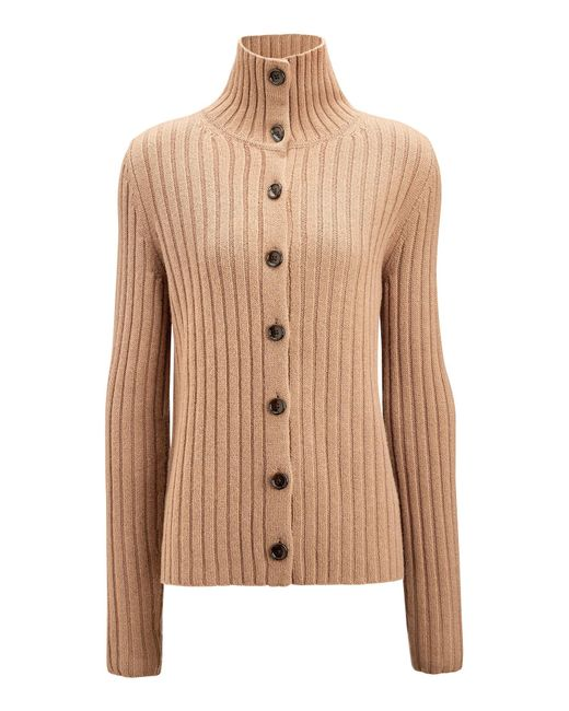 Joseph - Natural Rib Soft Wool Knit Cardigan - Lyst