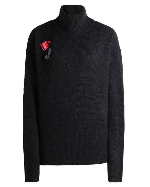 Markus Lupfer | Black Alpaca Embroidered Rose Jumper | Lyst