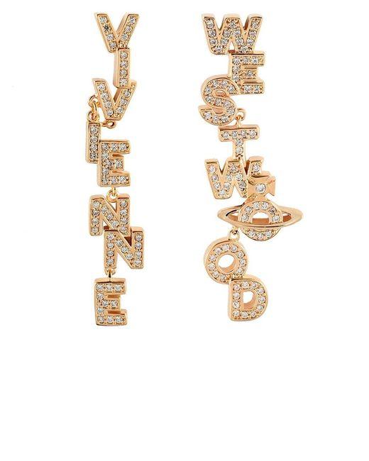 Vivienne Westwood | Metallic Soho Slogan Drop Earrings | Lyst