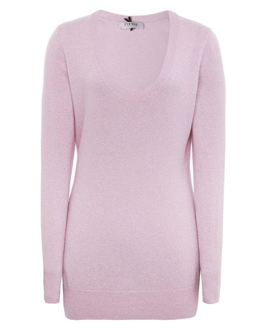 Cocoa Cashmere - Purple Shimmering Cashmere Scoop Neck Jumper - Lyst