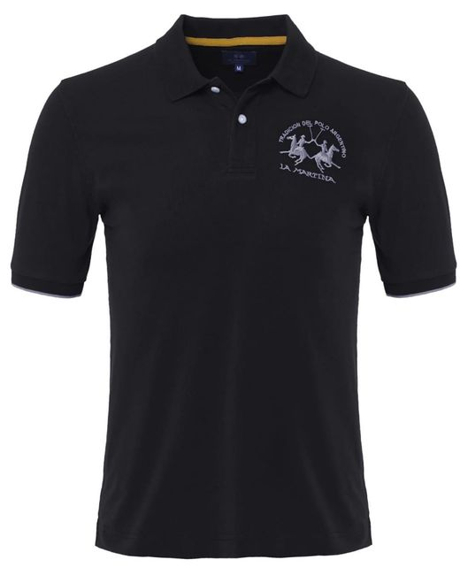 La Martina | Black Plain Polo Shirt for Men | Lyst