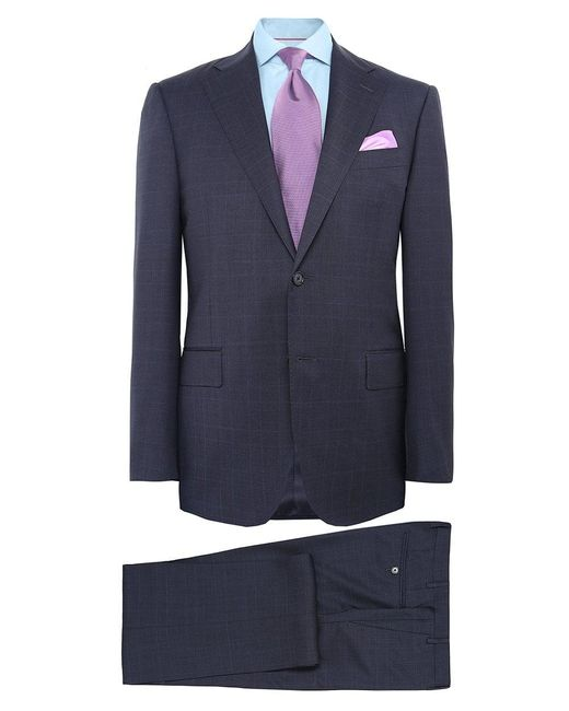 Corneliani | Blue Virgin Wool Prince Of Wales Check Suit for Men | Lyst