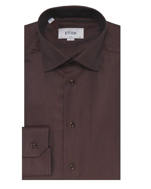 Eton of Sweden | Brown Slim Fit Herringbone Cambridge Twill Shirt for Men | Lyst
