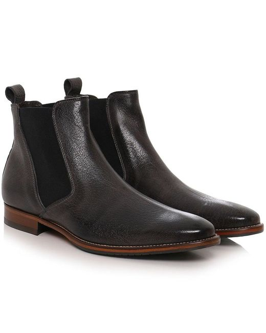 joss calf leather chelsea boots in gray for men lyst. Black Bedroom Furniture Sets. Home Design Ideas