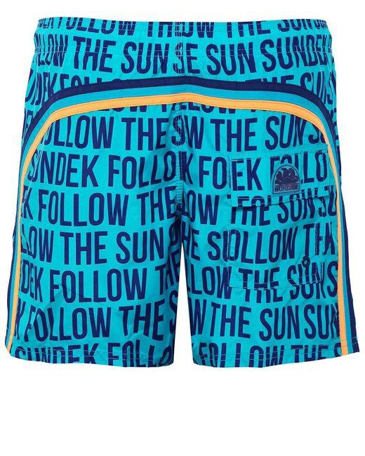 Sundek - Blue Mid-length Slogan Board Shorts for Men - Lyst