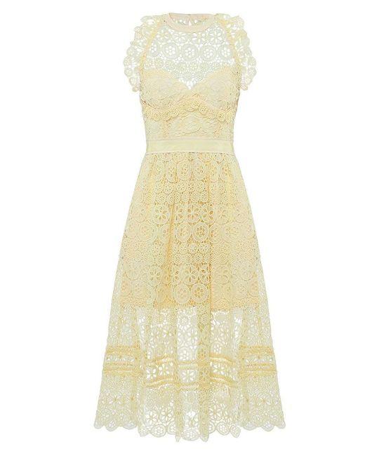 Self-Portrait - Yellow Lace Circle Midi Dress - Lyst