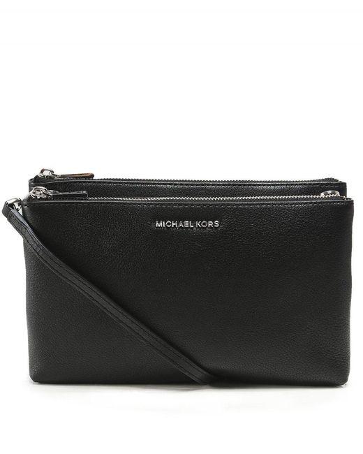 98c66e0dd3f0cc MICHAEL Michael Kors - Black Adele Leather Double Zip Crossbody Bag - Lyst  ...