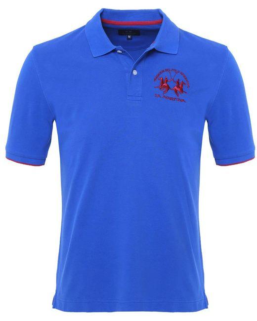 La Martina - Blue Plain Polo Shirt for Men - Lyst