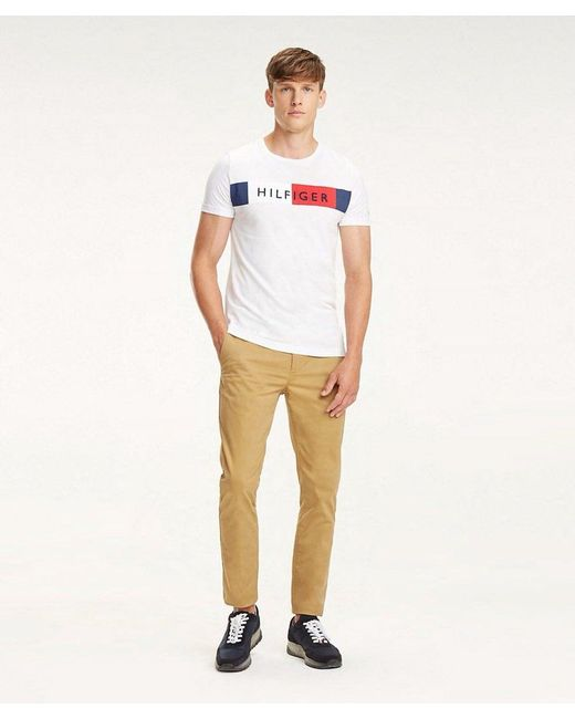 9aaf58f3 ... Tommy Hilfiger - White Colour-blocked Flag T-shirt for Men - Lyst ...