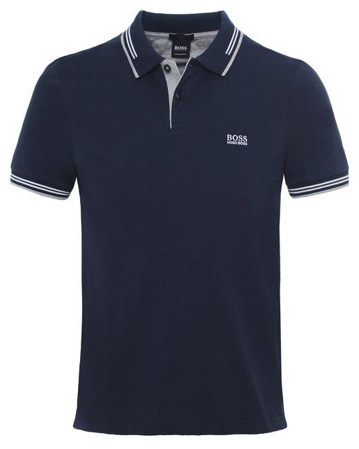 BOSS Green - Blue Slim Fit Paul Polo Shirt for Men - Lyst