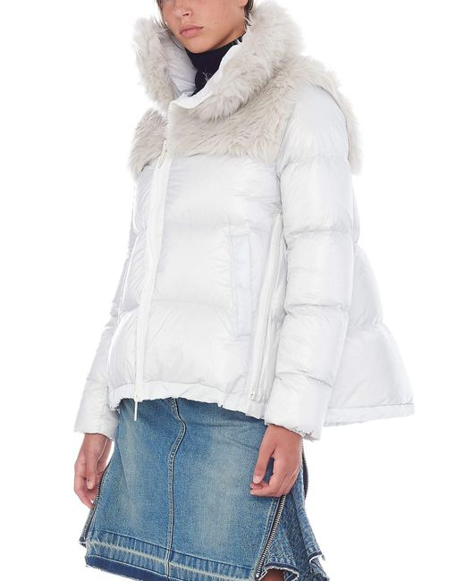 Sacai - Gray Eco Fur Down Jacket - Lyst