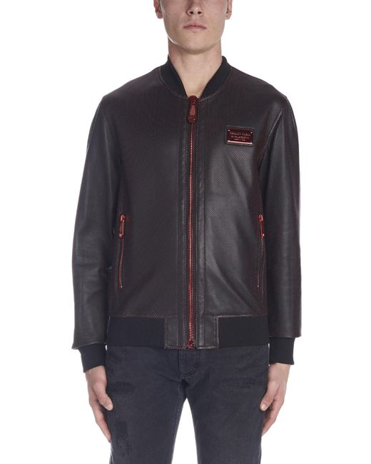 77a24d4ee8 ... Philipp Plein - Black Perforated Jacket for Men - Lyst ...