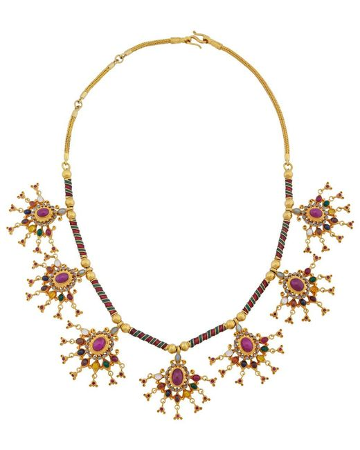 Royal Thai - Metallic Thai Big Ruby Necklace - Lyst