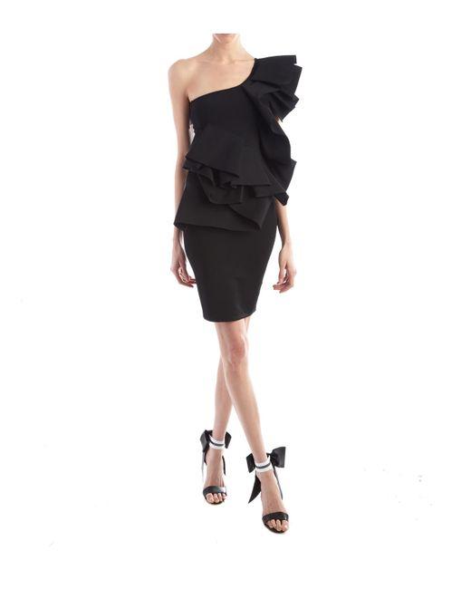 Alexandre Vauthier - Off The Shoulder Black Ruffle Dress - Lyst