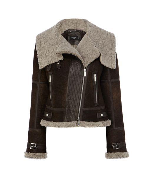 Karen Millen | Black Shearling Aviator Jacket - Brown | Lyst