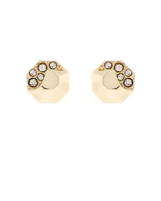 Karen Millen - Metallic Sparkling Stud Earring - Gold Colour - Lyst