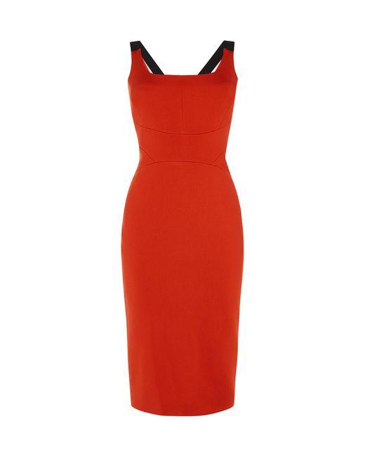 Karen Millen - Red Sleeveless Pencil Dress - Lyst