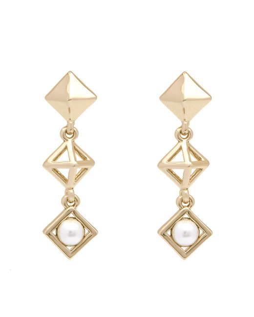 Karen Millen - Metallic Pyramid Pearl Earrings - Lyst