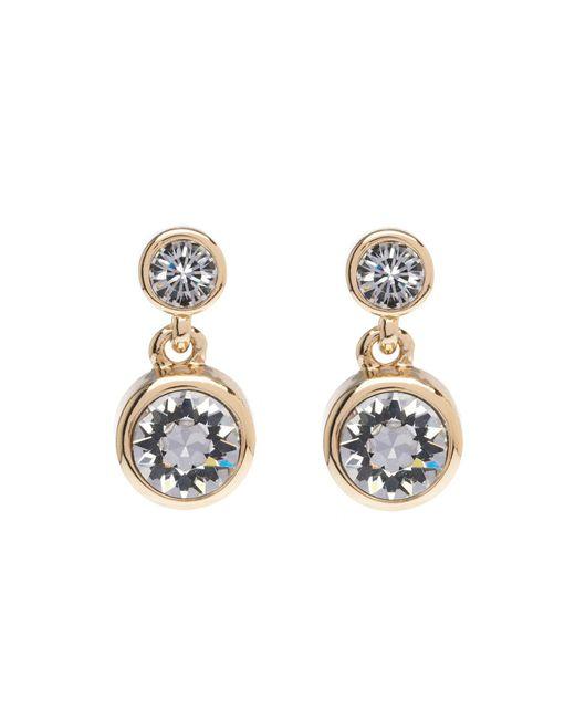 Karen Millen - Metallic Crystal Dot Drop Earring - Gold Colour - Lyst