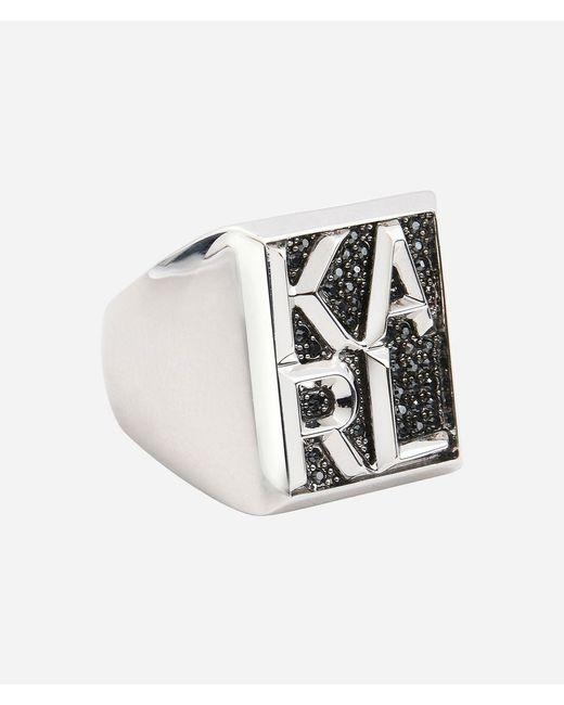 Karl Lagerfeld - Metallic Ring Karl Block - Lyst