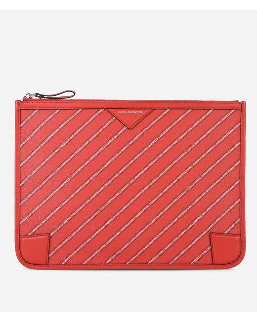 Karl Lagerfeld - Red K/stripe Logo Pouch - Lyst