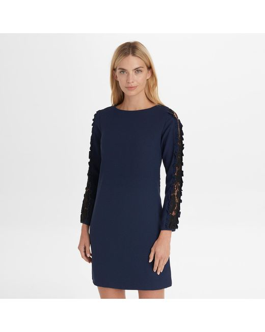 5d12d679a71f2 Karl Lagerfeld - Blue Long Sleeve Shift Dress With Lace Sleeves - Lyst ...