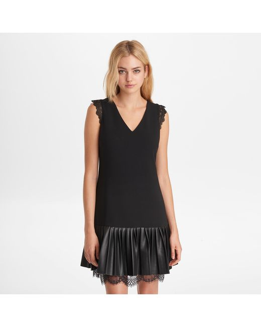 Lyst Karl Lagerfeld Sleeveless Dress With Pleats And Lace In Black