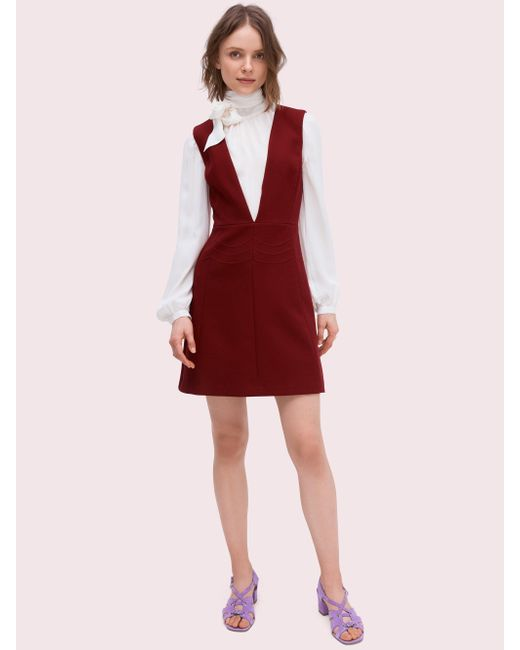 8c9b82cd8c84 Kate Spade Scallop Twill Dress in Red - Save 20% - Lyst
