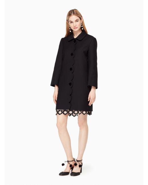 Kate Spade | Black Scallop Twill Coat | Lyst