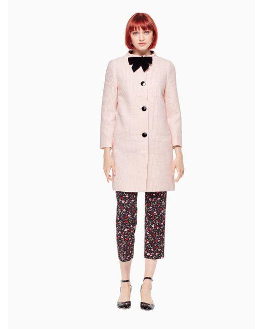 Kate Spade | Pink Bow Tweed Coat | Lyst