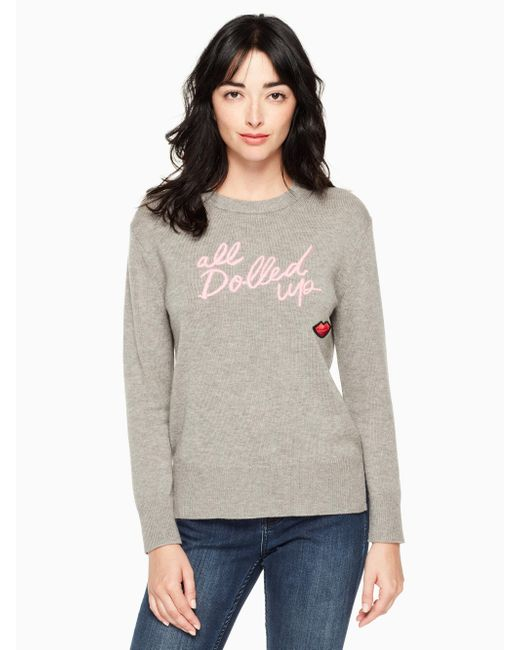 Kate Spade - Gray All Dolled Up Sweater - Lyst
