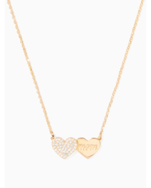 Kate Spade - Metallic Mom Knows Best Pave Heart Mom Pendant - Lyst