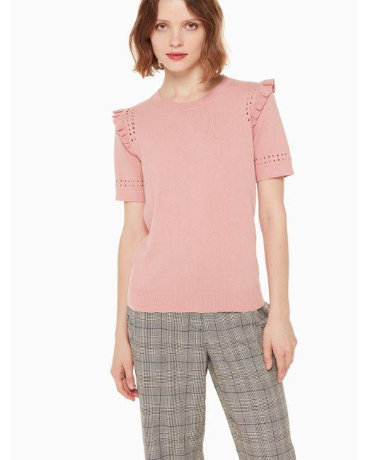 Kate Spade - Pink Ruffle Short Sleeve Sweater - Lyst
