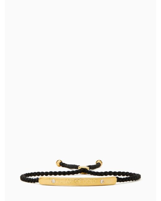Kate Spade - Black Say Yes Heart Of Gold Slider Bracelet - Lyst