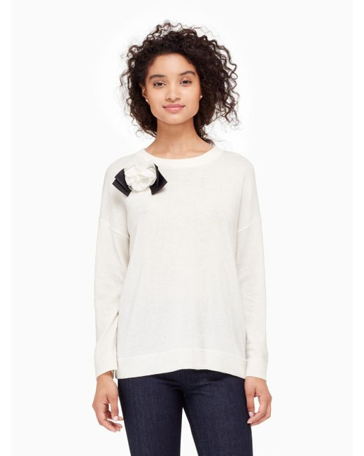 Kate Spade | Natural Rosette Bow Sweater | Lyst
