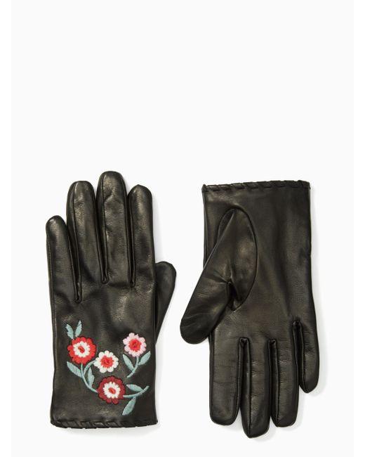 Kate Spade | Black In Bloom Leather Gloves | Lyst