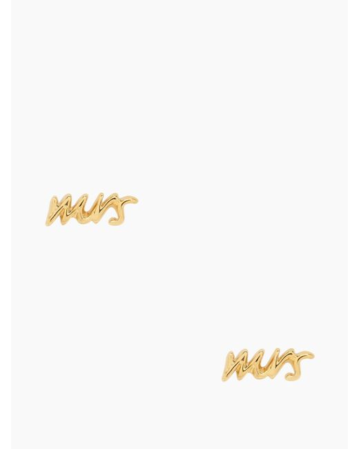"Kate Spade | Metallic Say Yes ""mrs"" Studs 