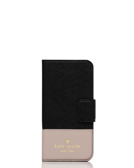 Kate Spade | Black Leather Iphone 6 Wrap Folio | Lyst
