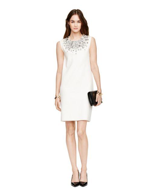 kate spade new york | Natural Embellished Sweater Dress | Lyst