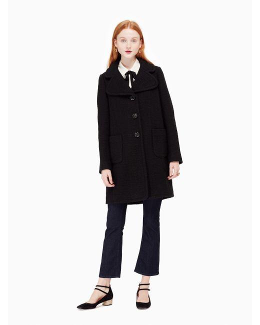 Kate Spade | Black Jewel Button Boucle Coat | Lyst