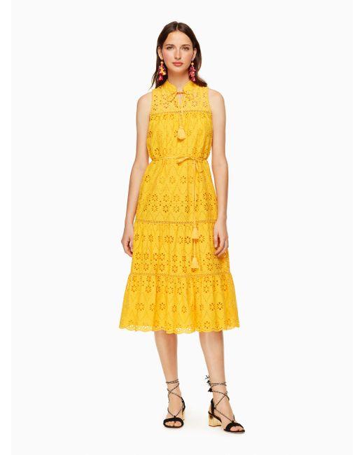 Kate Spade | Yellow Eyelet Patio Dress | Lyst