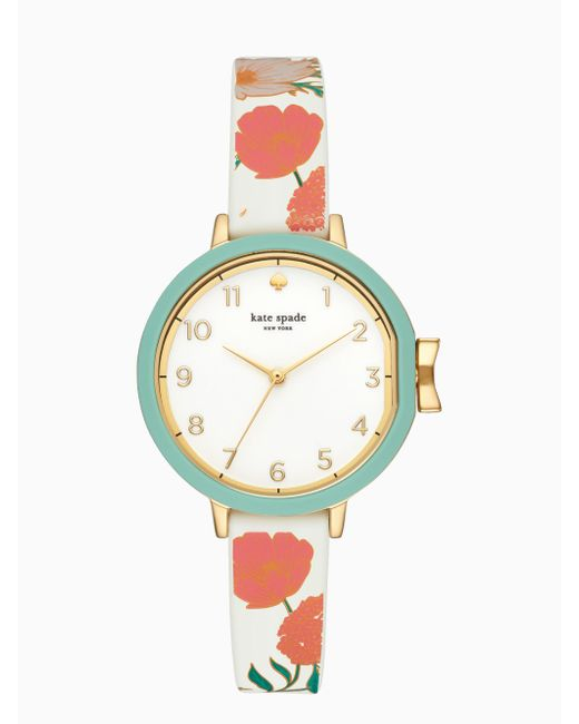 Kate Spade - White Park Row Floral Silicone Watch - Lyst
