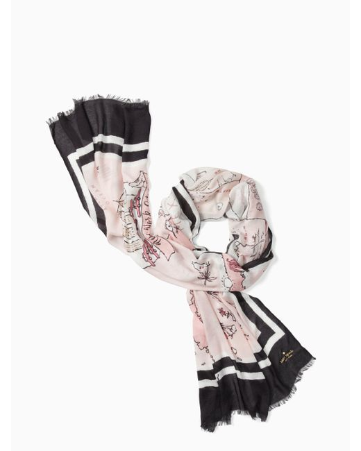 Kate Spade - Multicolor Usa Map Oblong Scarf - Lyst