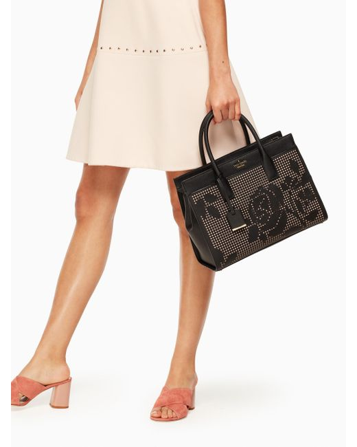 Kate Spade | Black Cameron Street Perforated Candace Satchel | Lyst