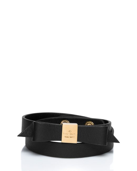 Kate Spade | Black Wrap Things Up Leather Bow Wrap Bracelet | Lyst