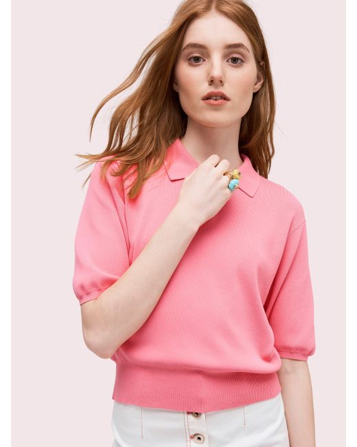 Kate Spade - Pink Solid Polo Sweater - Lyst